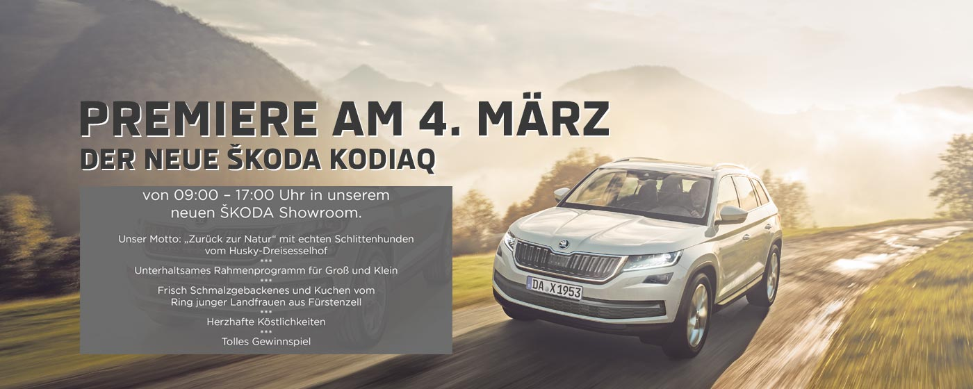 premiere des neuen skoda kodiaq am 4 3 bei auto schuster schuster automobile. Black Bedroom Furniture Sets. Home Design Ideas